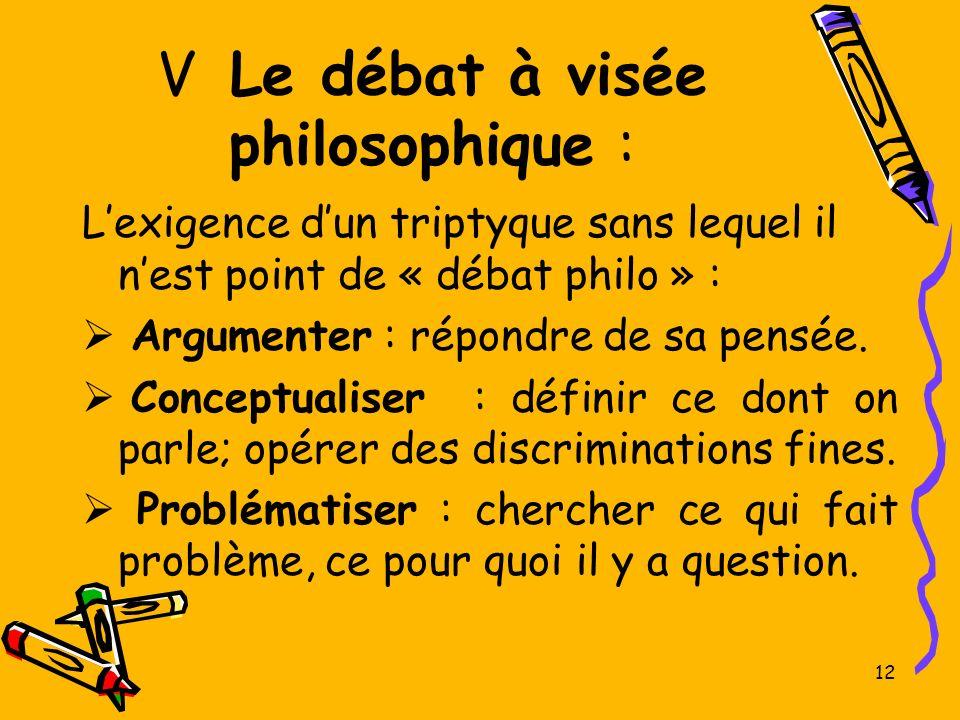 V Le débat à visée philosophique :