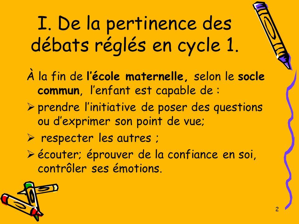 I. De la pertinence des débats réglés en cycle 1.