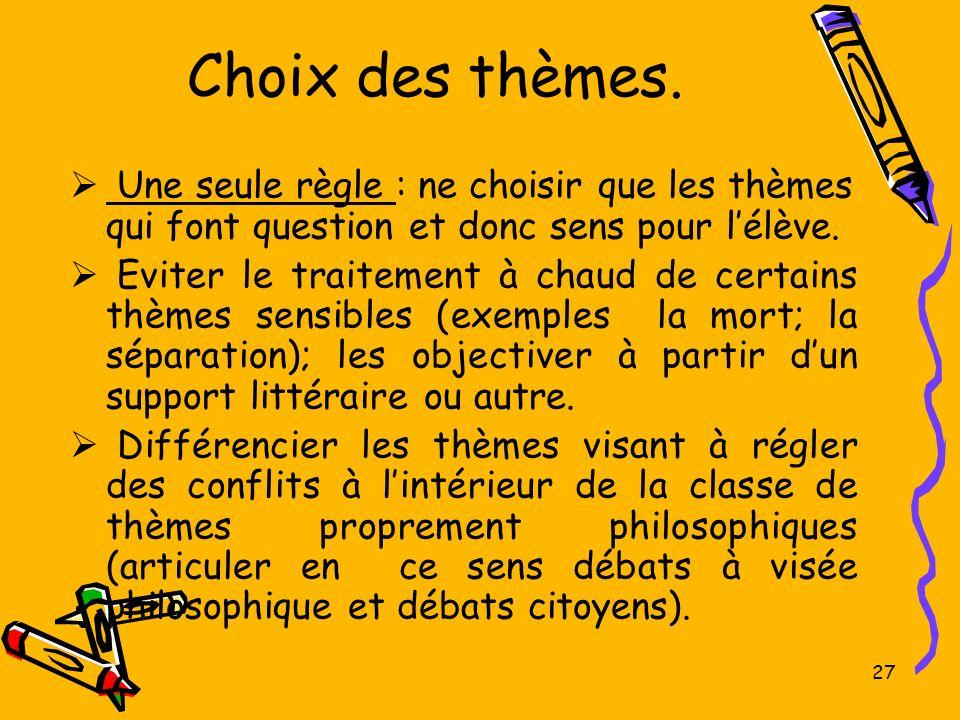 Choix des thèmes. Une seule règle : ne choisir que les thèmes qui font question et donc sens pour l'élève.