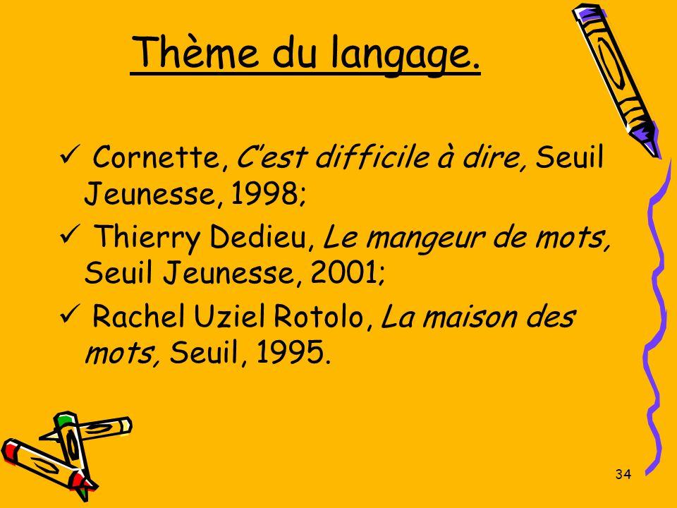 Thème du langage. Cornette, C'est difficile à dire, Seuil Jeunesse, 1998; Thierry Dedieu, Le mangeur de mots, Seuil Jeunesse, 2001;