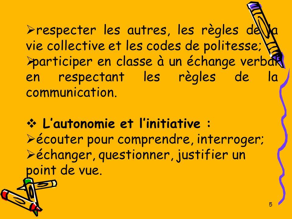 respecter les autres, les règles de la vie collective et les codes de politesse;