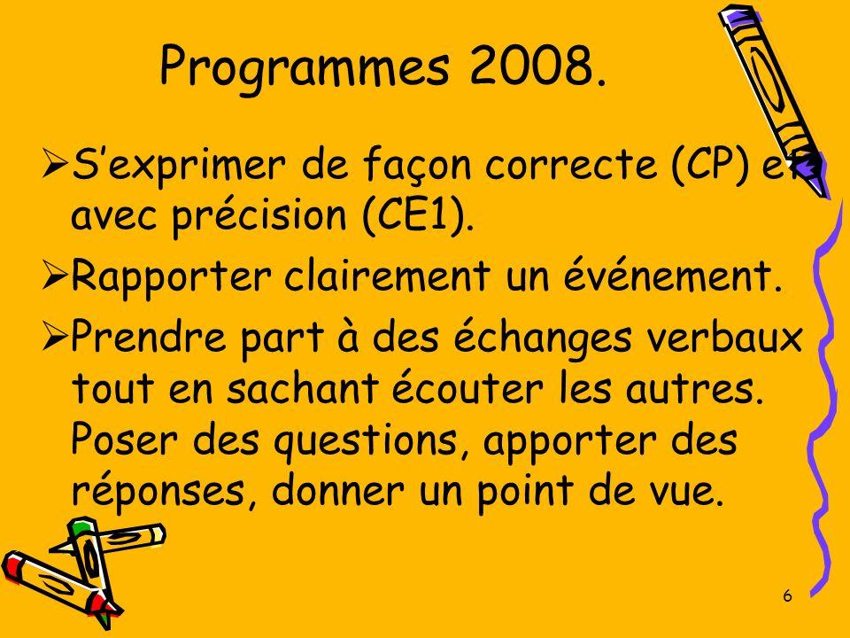 Programmes 2008. S'exprimer de façon correcte (CP) et avec précision (CE1). Rapporter clairement un événement.