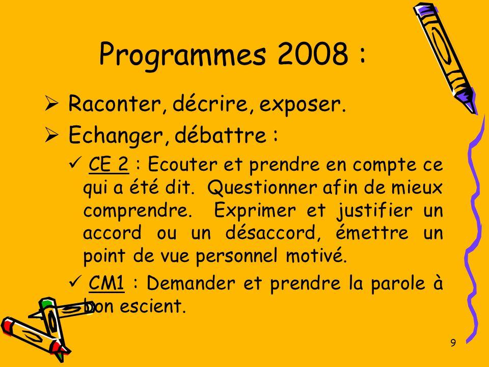 Programmes 2008 : Raconter, décrire, exposer. Echanger, débattre :