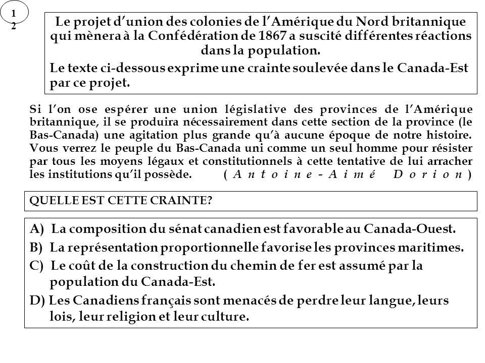 A) La composition du sénat canadien est favorable au Canada-Ouest.