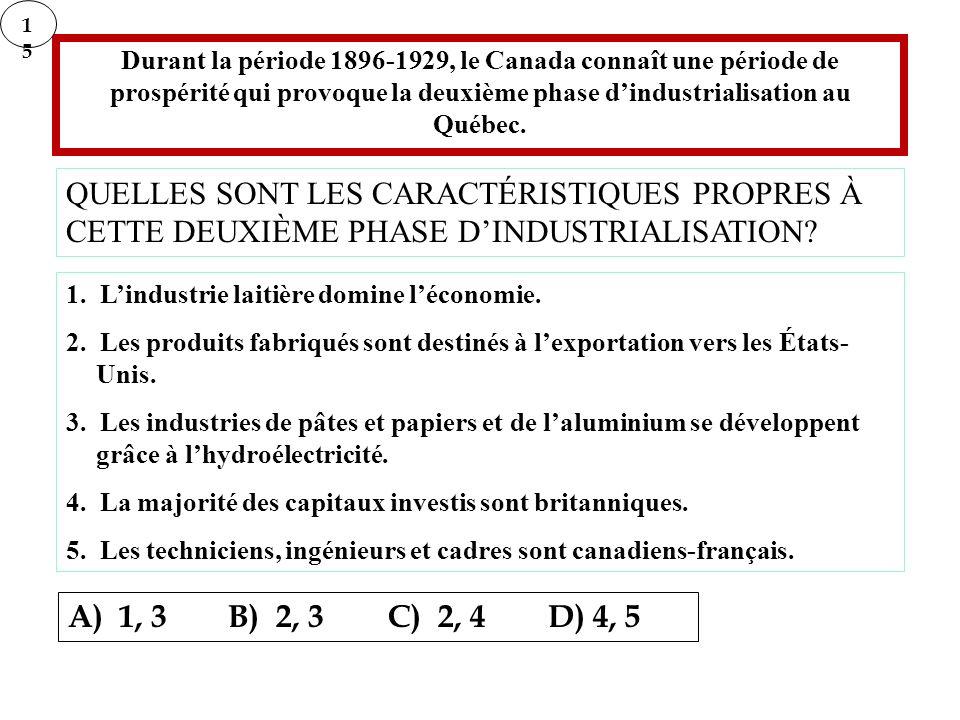 15 Durant la période 1896-1929, le Canada connaît une période de prospérité qui provoque la deuxième phase d'industrialisation au Québec.