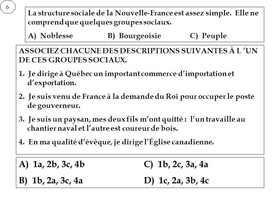 6 La structure sociale de la Nouvelle-France est assez simple. Elle ne comprend que quelques groupes sociaux.