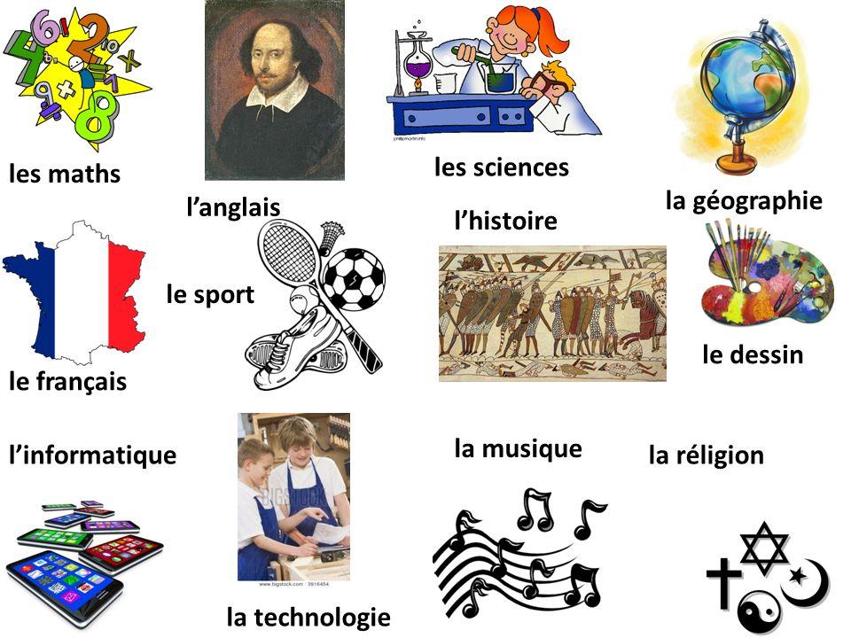 les sciences les maths. la géographie. l'anglais. l'histoire. le sport. le dessin. le français.