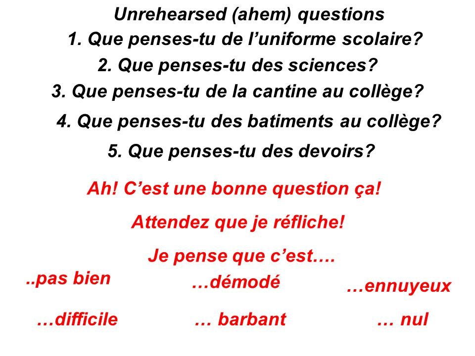 Unrehearsed (ahem) questions 1. Que penses-tu de l'uniforme scolaire