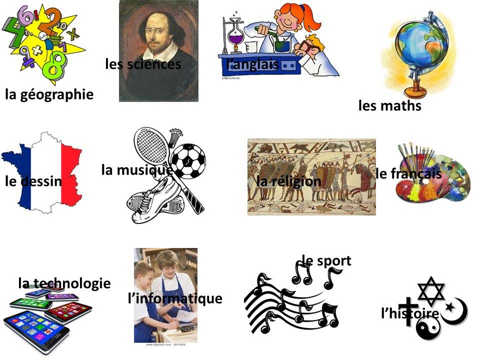 les sciences l'anglais. la géographie. les maths. la musique. le français. le dessin. la réligion.