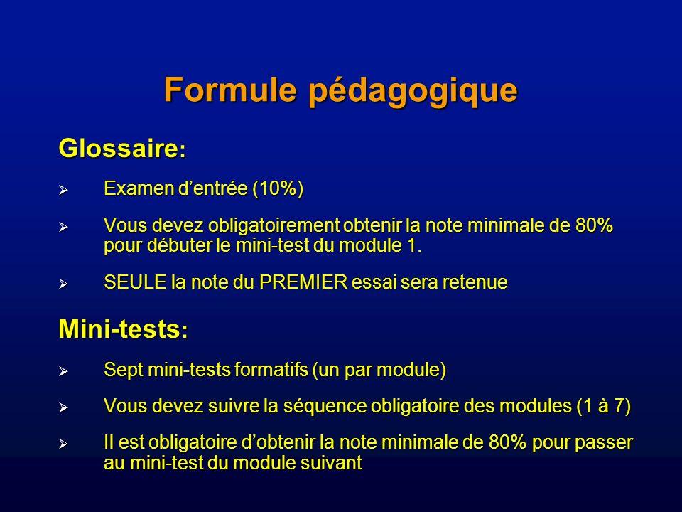 Formule pédagogique Glossaire: Mini-tests: Examen d'entrée (10%)
