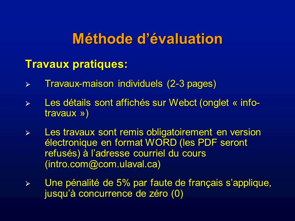 Méthode d'évaluation Travaux pratiques: