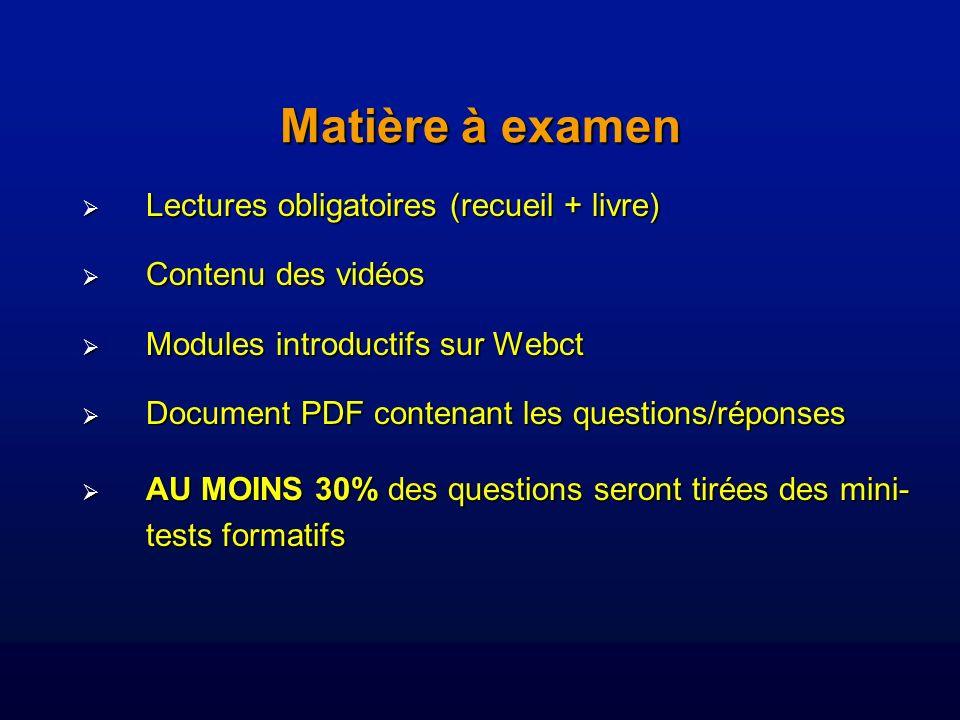Matière à examen Lectures obligatoires (recueil + livre)