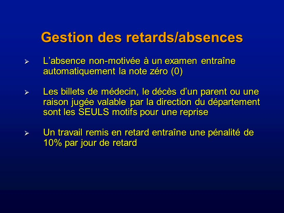 Gestion des retards/absences