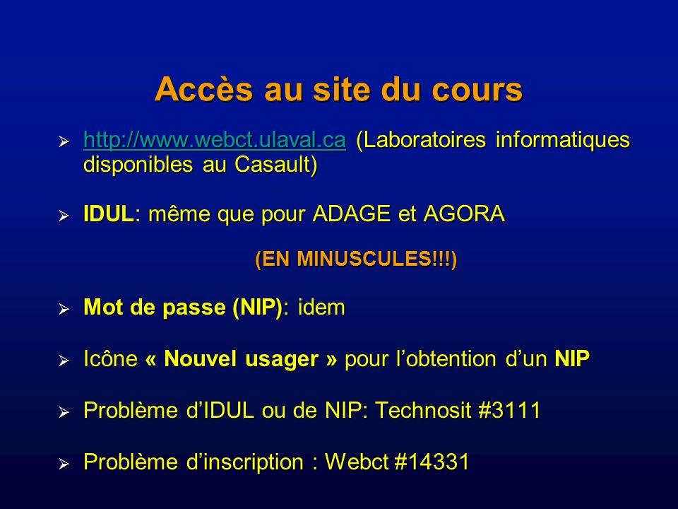 Accès au site du cours http://www.webct.ulaval.ca (Laboratoires informatiques disponibles au Casault)