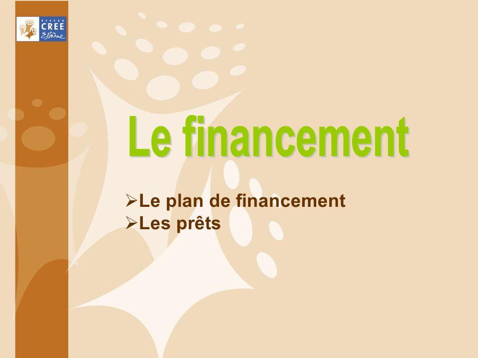 Le financement Le plan de financement Les prêts