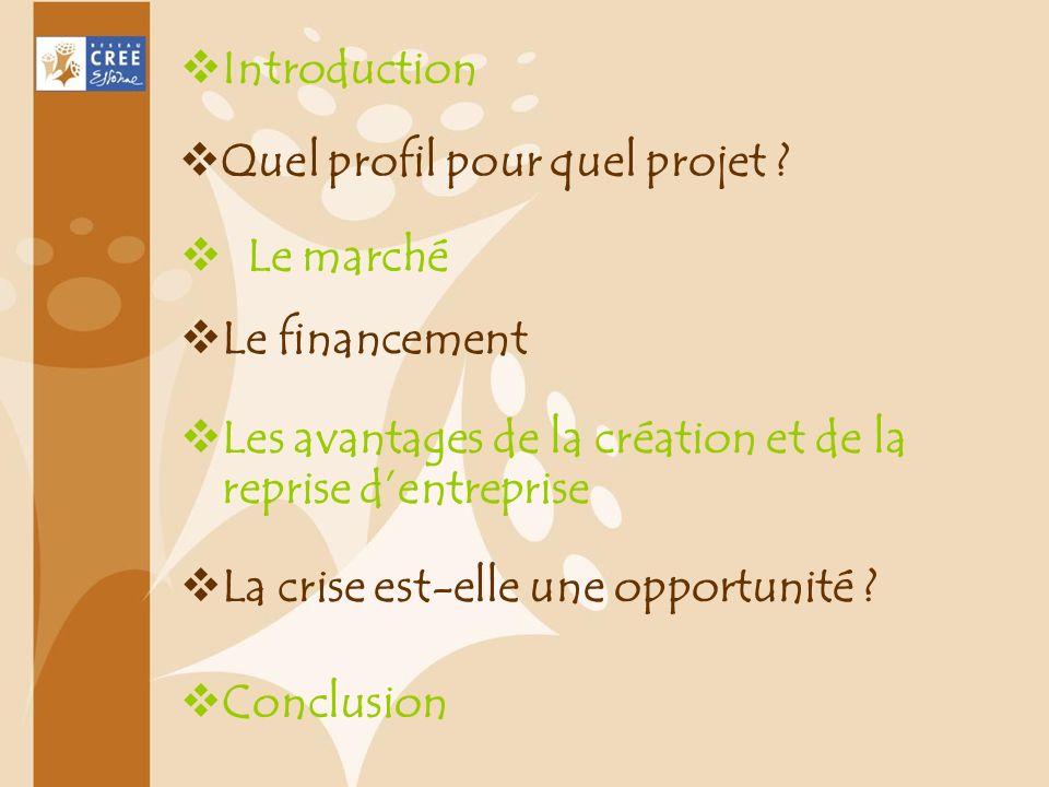 Introduction Quel profil pour quel projet Le marché. Le financement. Les avantages de la création et de la reprise d'entreprise.