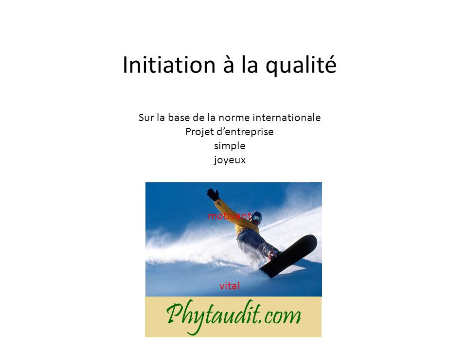 Initiation à la qualité Sur la base de la norme internationale Projet d'entreprise simple joyeux motivant vital