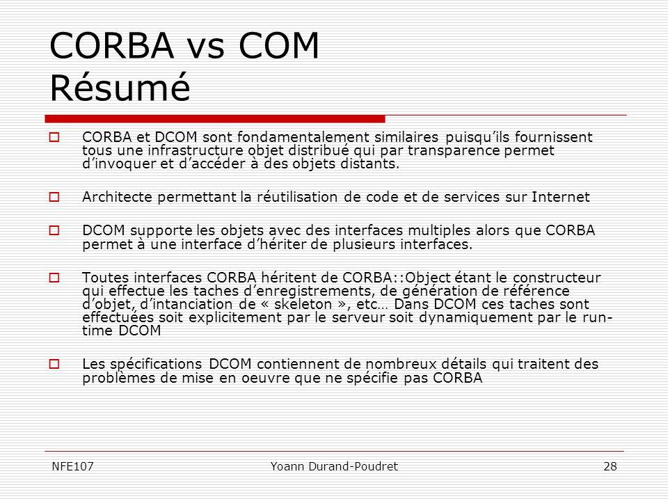 CORBA vs COM Résumé