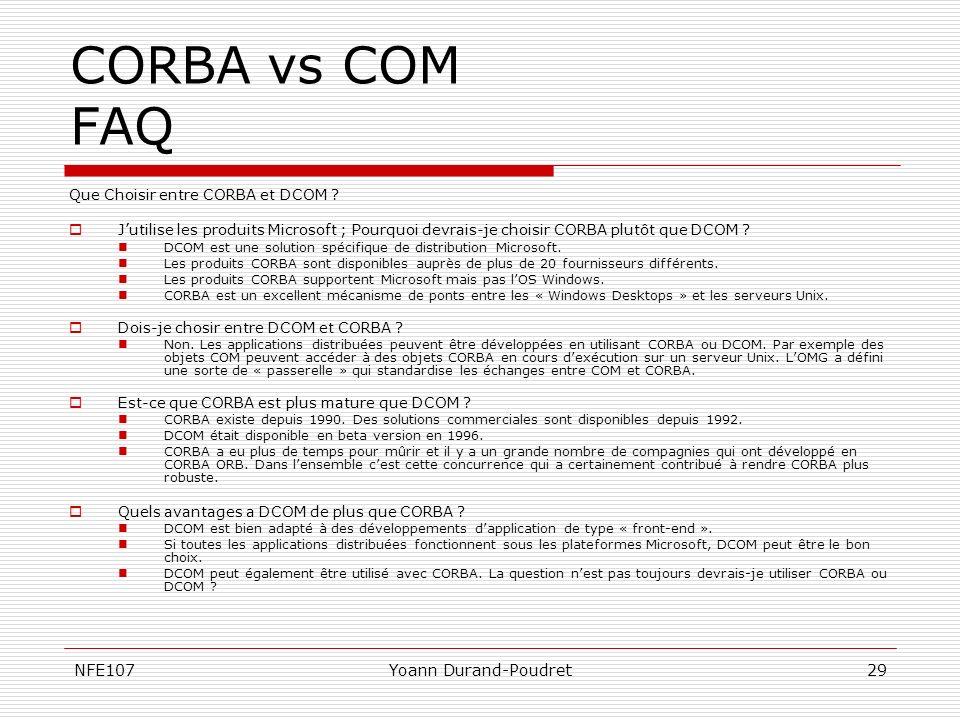 CORBA vs COM FAQ NFE107 Yoann Durand-Poudret