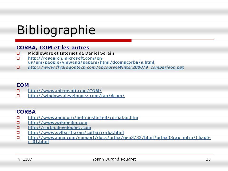 Bibliographie CORBA, COM et les autres COM CORBA