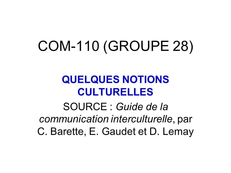 QUELQUES NOTIONS CULTURELLES