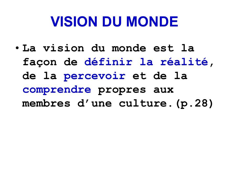 VISION DU MONDE La vision du monde est la façon de définir la réalité, de la percevoir et de la comprendre propres aux membres d'une culture.(p.28)