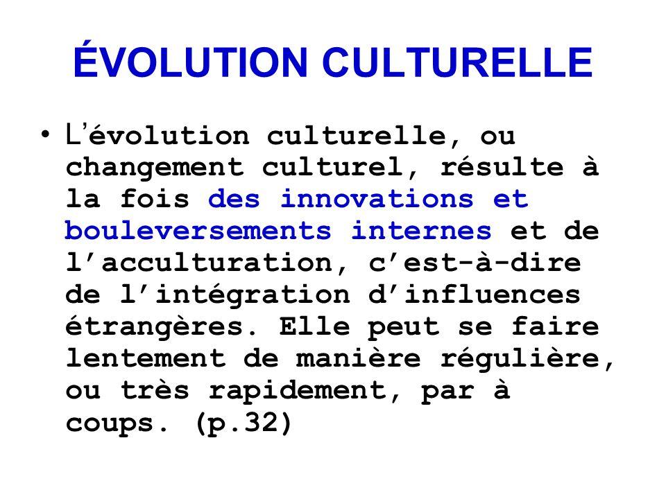 ÉVOLUTION CULTURELLE