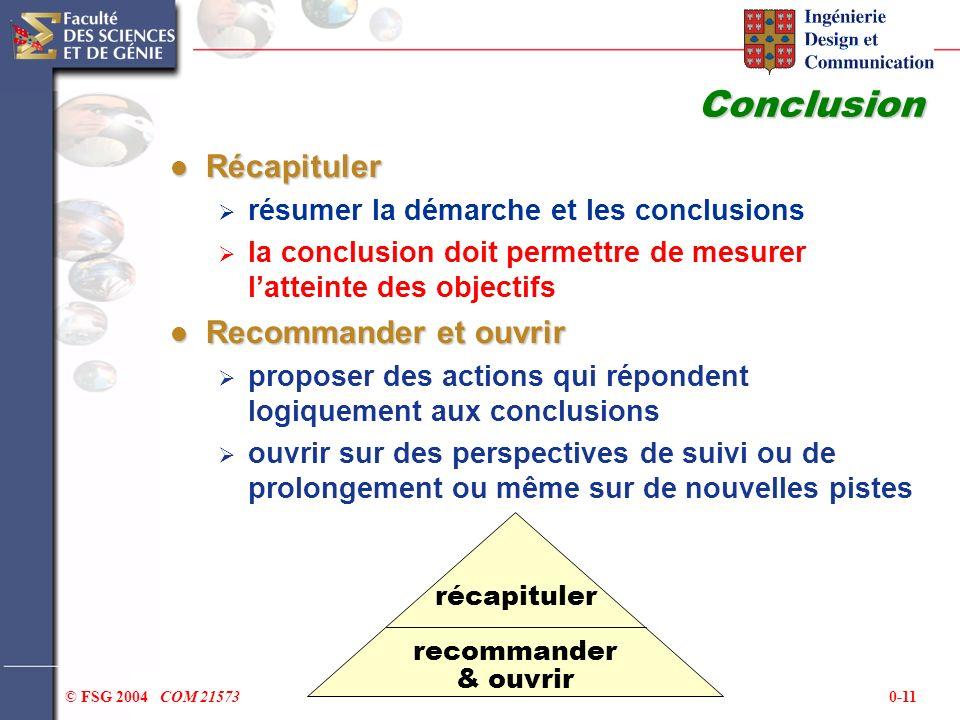 Conclusion Récapituler Recommander et ouvrir