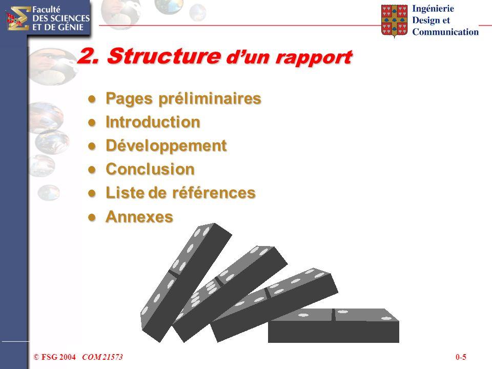 2. Structure d'un rapport