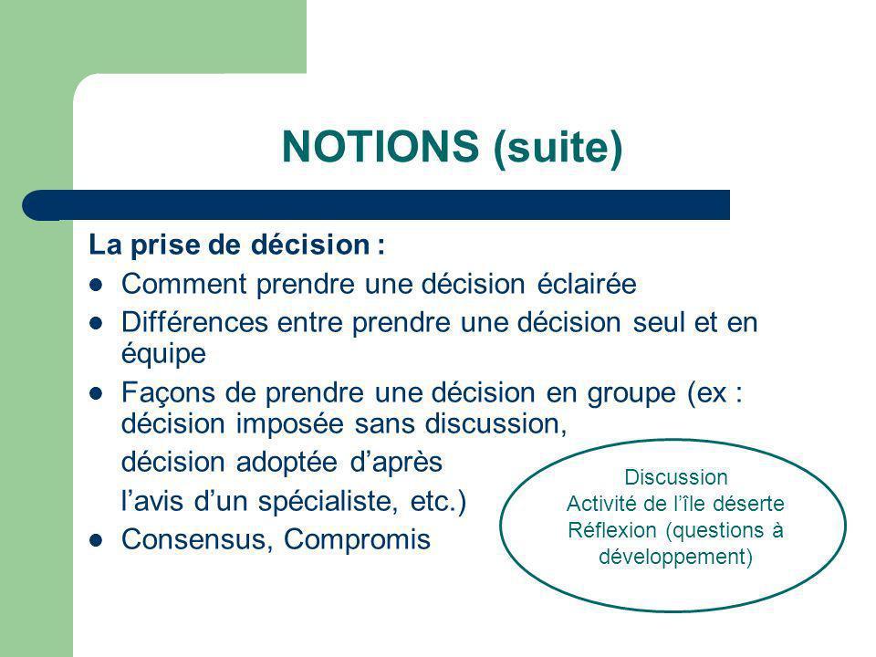NOTIONS (suite) La prise de décision :