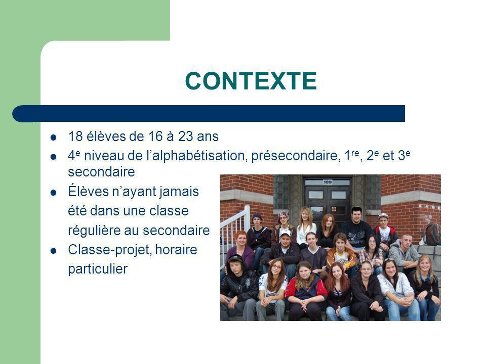 CONTEXTE 18 élèves de 16 à 23 ans