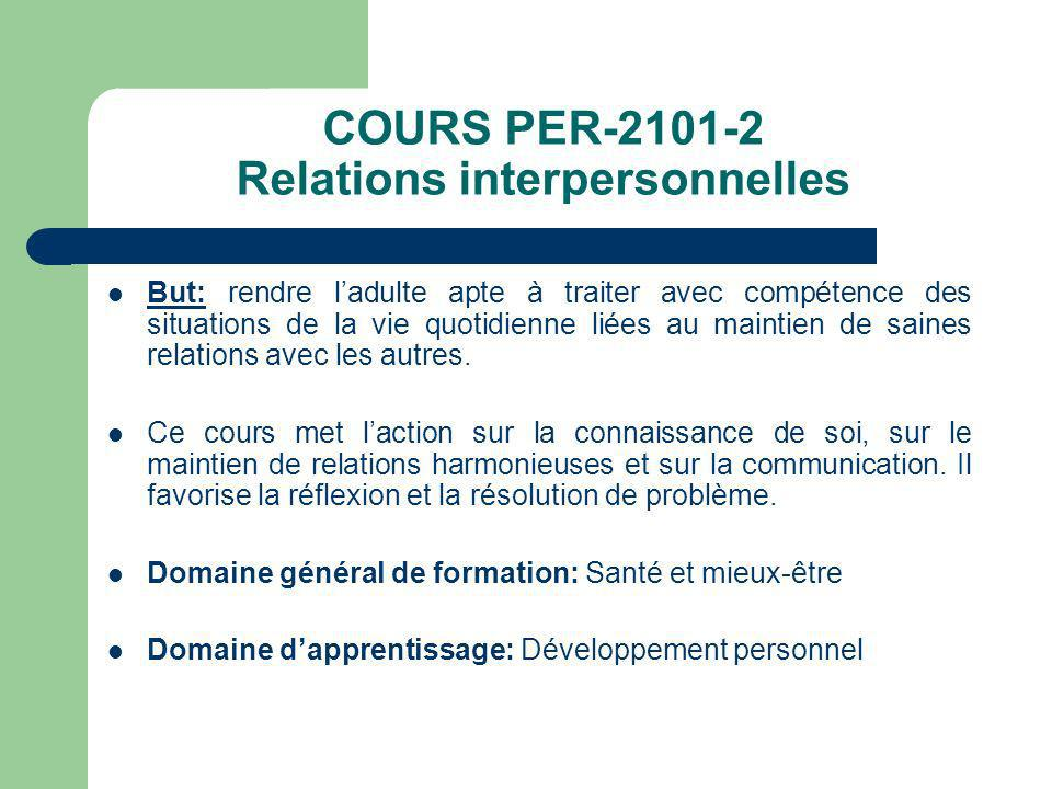 COURS PER-2101-2 Relations interpersonnelles