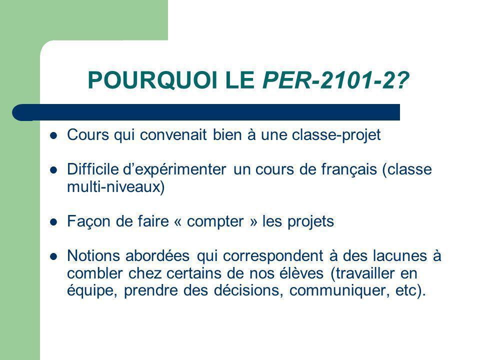POURQUOI LE PER-2101-2 Cours qui convenait bien à une classe-projet