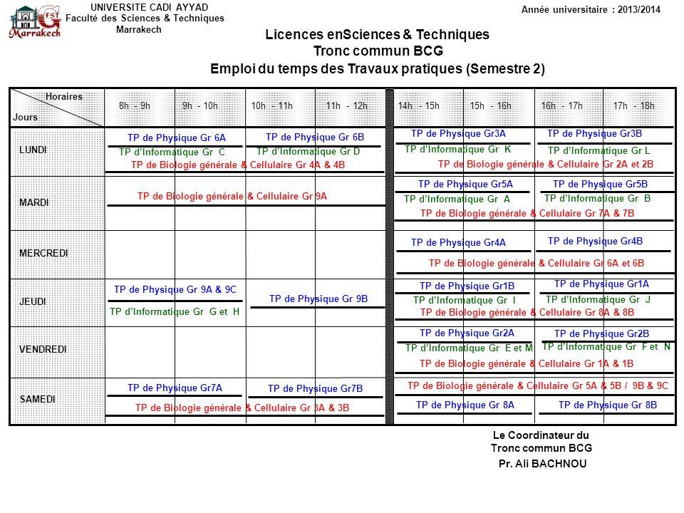 Licences enSciences & Techniques Tronc commun BCG