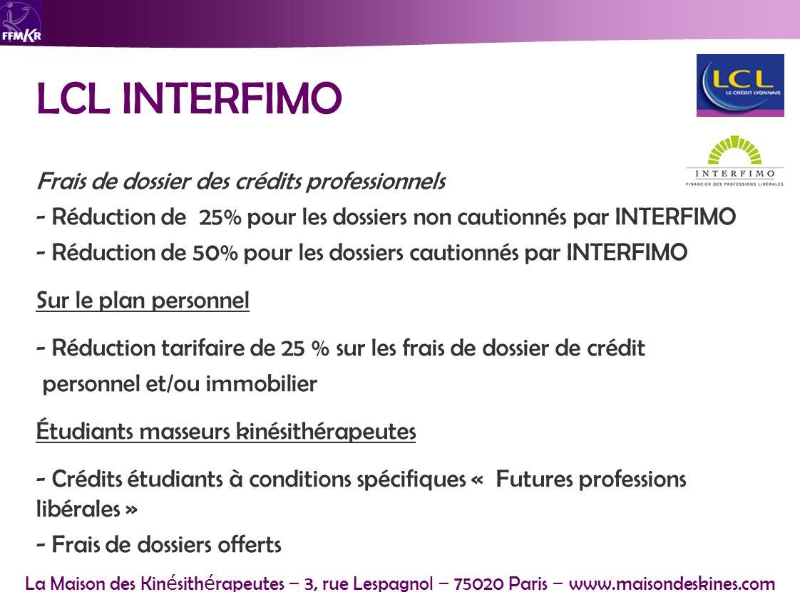 LCL INTERFIMO Frais de dossier des crédits professionnels