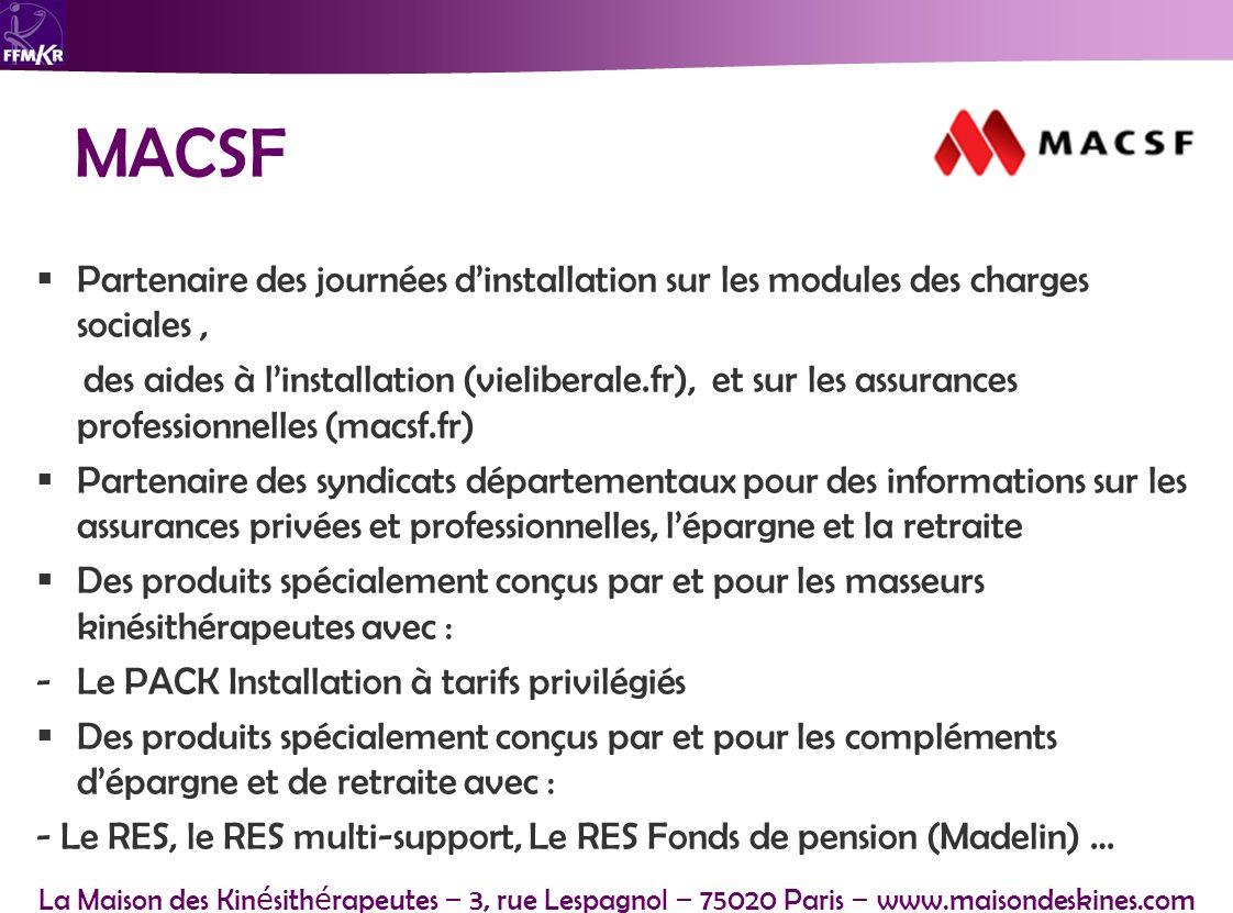 MACSF Partenaire des journées d'installation sur les modules des charges sociales ,