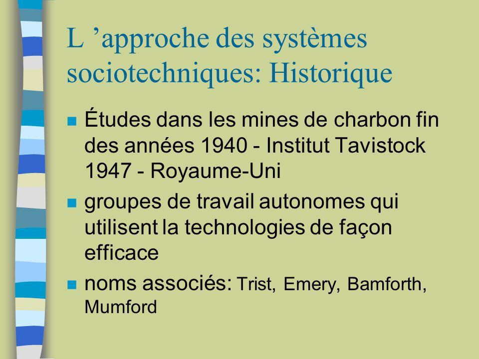 L 'approche des systèmes sociotechniques: Historique