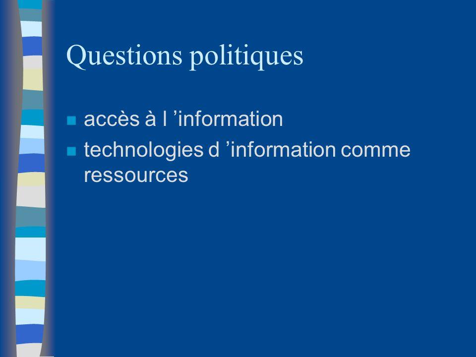 Questions politiques accès à l 'information