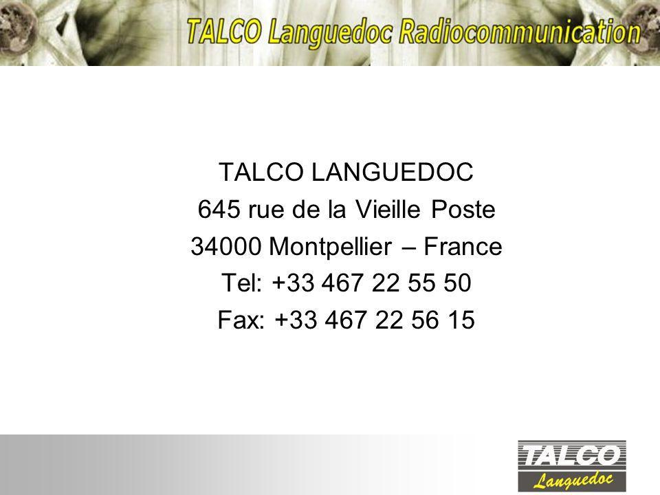 TALCO LANGUEDOC 645 rue de la Vieille Poste. 34000 Montpellier – France.
