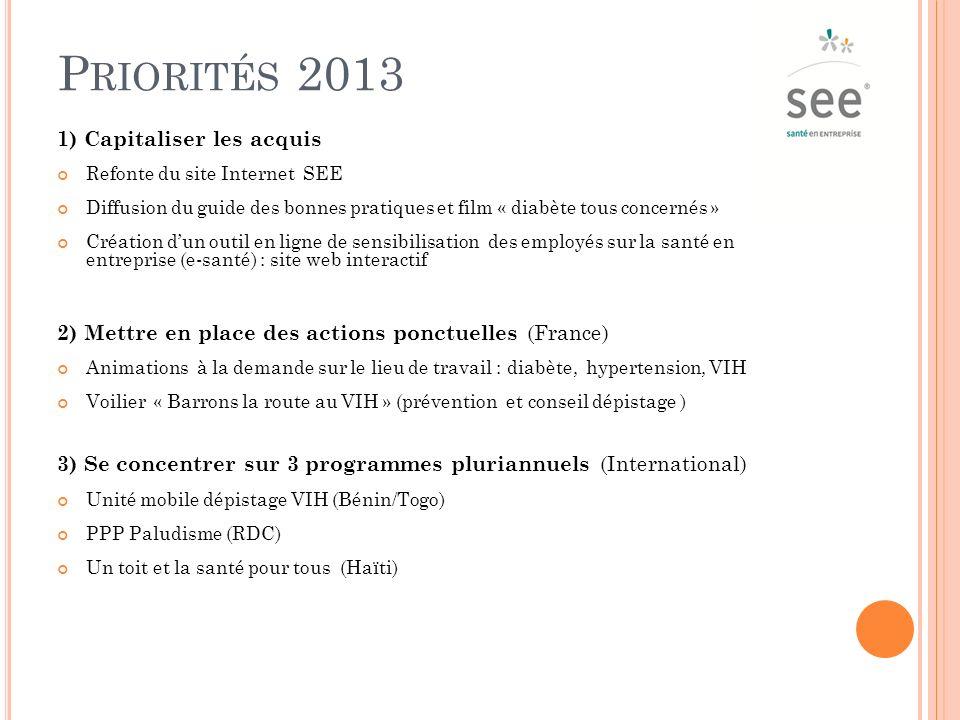 . Priorités 2013 1) Capitaliser les acquis