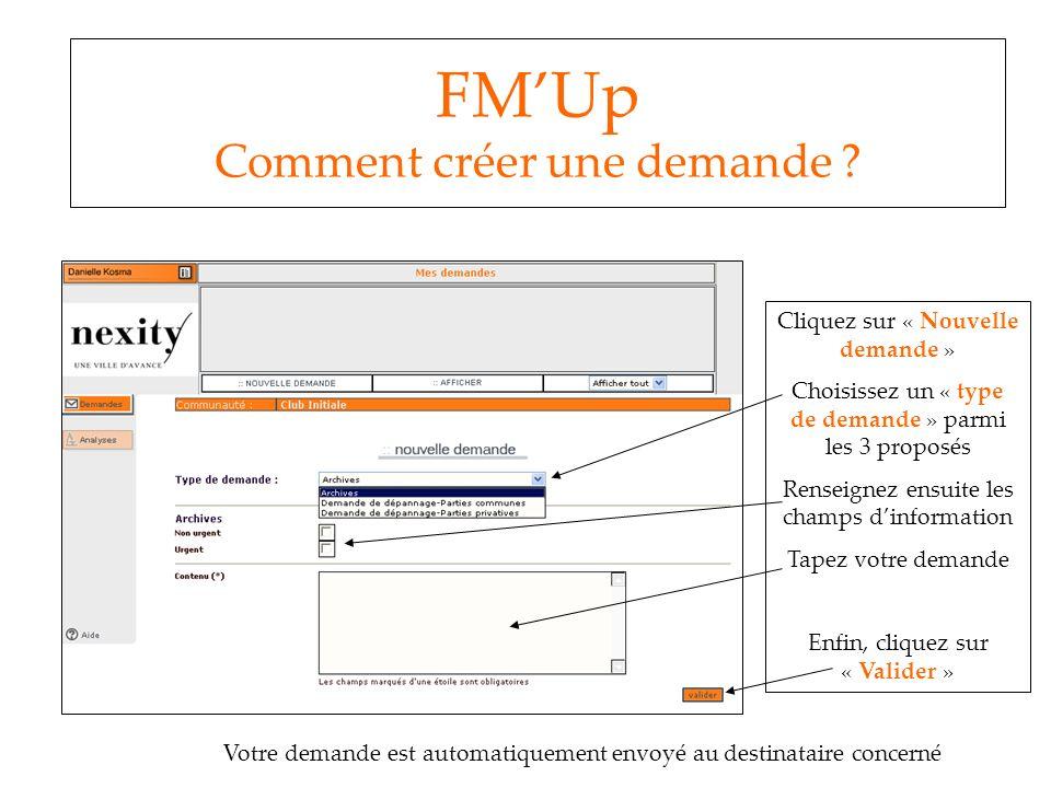 FM'Up Comment créer une demande