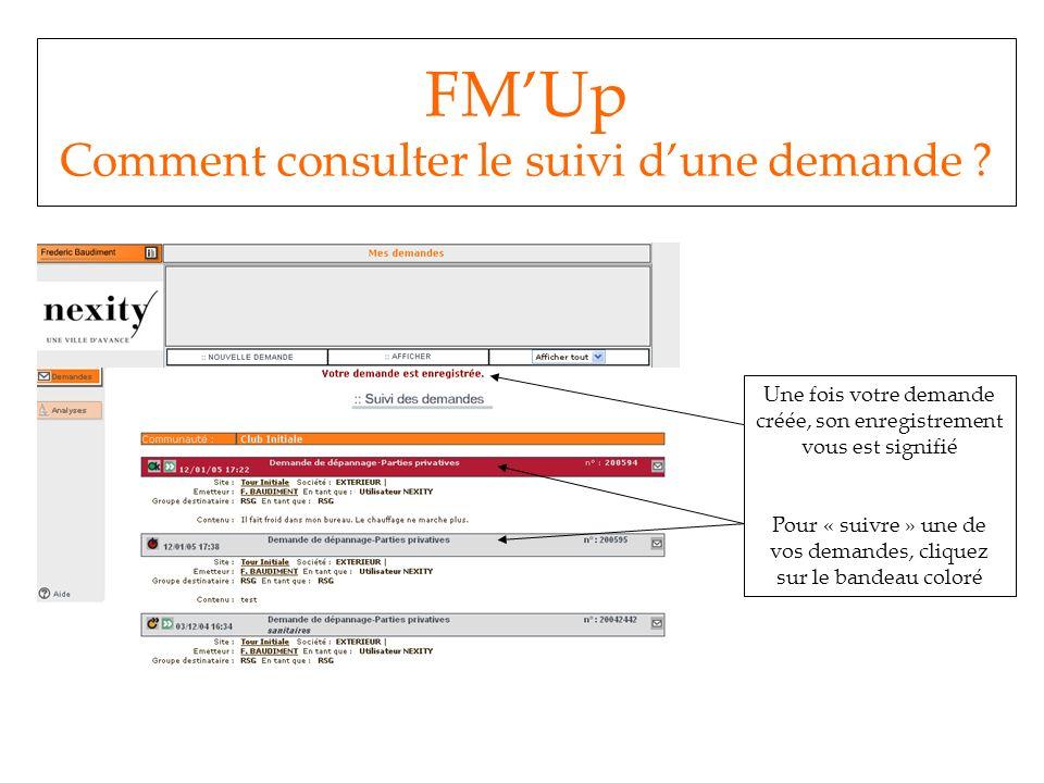 FM'Up Comment consulter le suivi d'une demande
