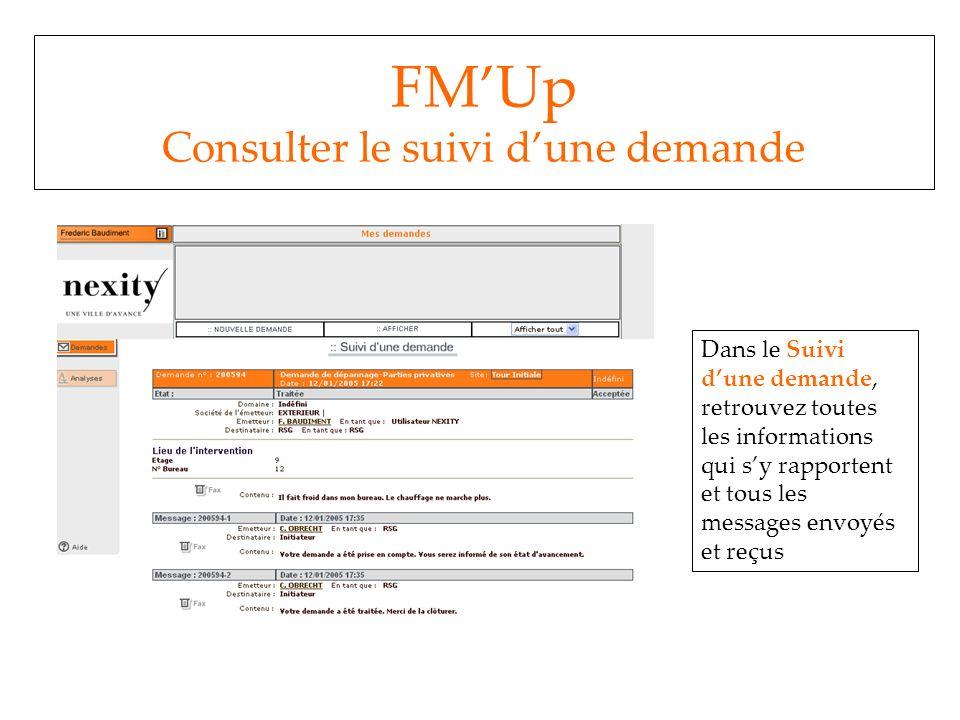 FM'Up Consulter le suivi d'une demande