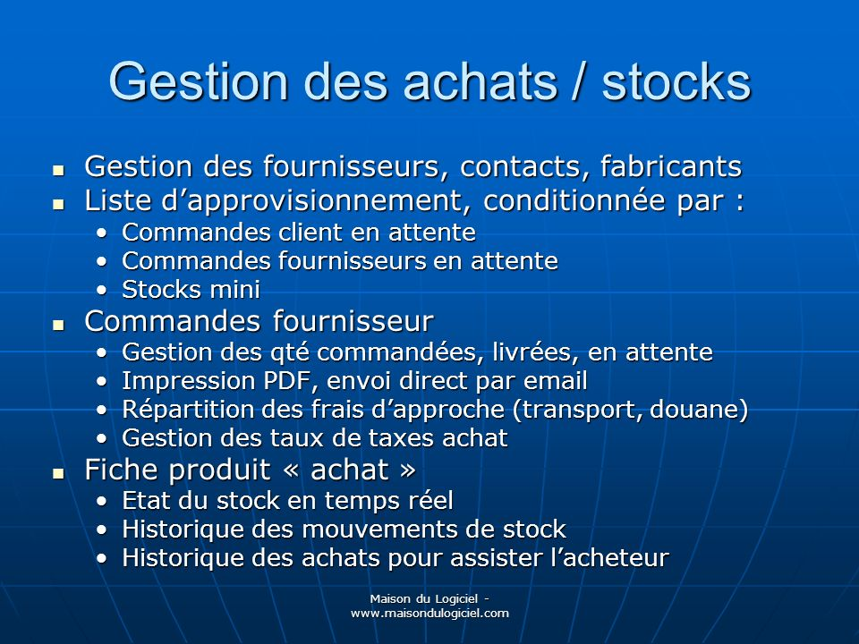 Gestion des achats / stocks