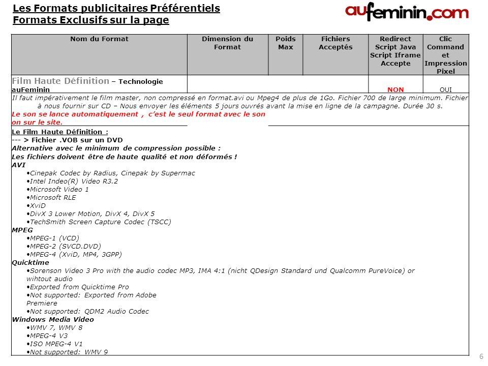 Les Formats publicitaires Préférentiels Formats Exclusifs sur la page