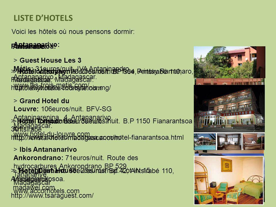 LISTE D'HOTELS Voici les hôtels où nous pensons dormir: Antananarivo: