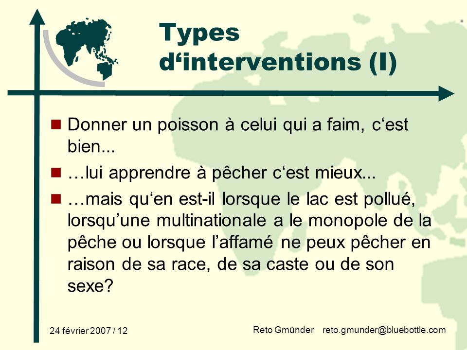 Types d'interventions (I)