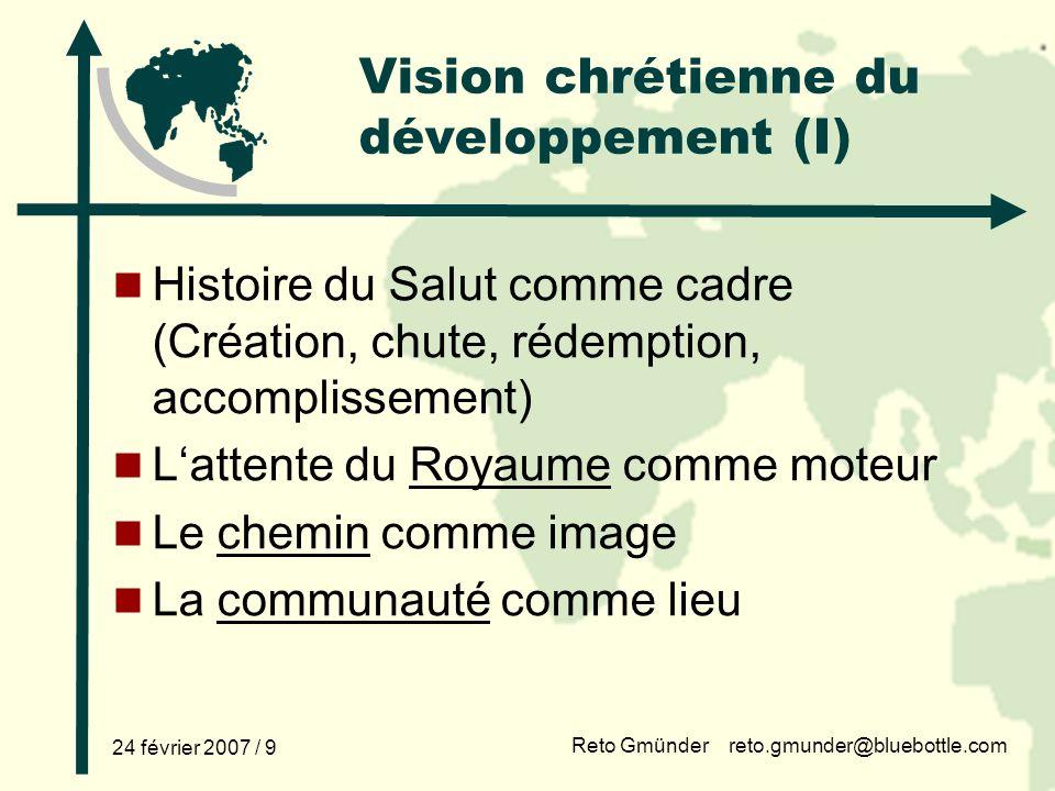 Vision chrétienne du développement (I)