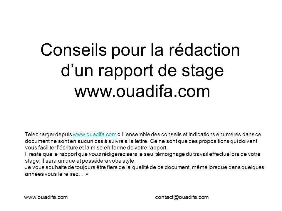 Conseils pour la rédaction d'un rapport de stage