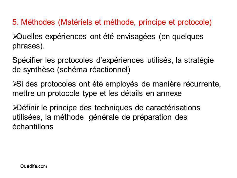 5. Méthodes (Matériels et méthode, principe et protocole)